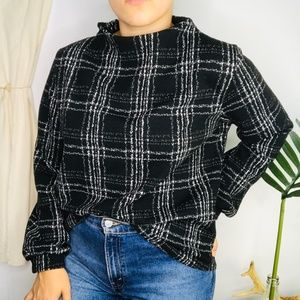 W5 Black Plaid Funnel Neck Bishop Sleeve Sweater